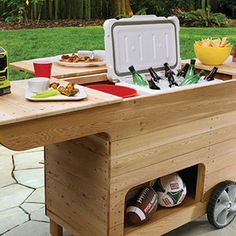 Check out this project on RYOBI Nation - This rolling outdoor cart is made of weather-resistant cedar with a pair of sliding decks that open to a spacious top compartment. Two sets of plans are provided below depending on your skill level - Easy & Advanced. Good luck and don't forget to enter your finished project in the Party Station contest! #RYOBINation
