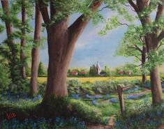 Bluebell walk to my favourite village Artwork Display, Acrylic Art, Kit, Plants, Painting, Painting Art, Paintings, Planters, Painted Canvas
