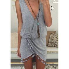 grey deep v neck dress with fringe details