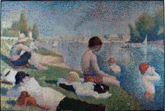 Bradley Hart - Bathers at Asnieres, Interpreted, Injection | From a unique collection of landscape paintings at http://www.1stdibs.com/art/paintings/landscape-paintings/