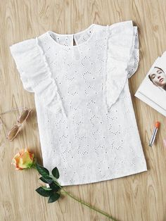 SheIn offers Buttoned Keyhole Flutter Sleeve Eyelet Embroidered Top & more to fit your fashionable needs. Fall Outfits, Kids Outfits, Fashion Outfits, Little Girl Dresses, Girls Dresses, Diy Clothes, Clothes For Women, Baby Dress Design, Dress Patterns