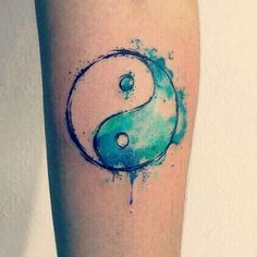 Water color ying and yang tattoo design - The colors look great in this one!