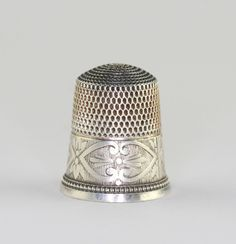 Antique Simons Brothers Sterling Silver Side Heart BookPiece Thimble Sz 9 #SimonsBrothers