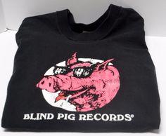 SOLD! Vintage 90's Black Blind Pig Records T-Shirt Size XXL 2XL 100% Cotton