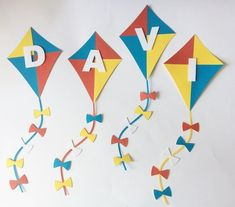 70 IDEIAS PARA FESTA TEMA PIPAS - VENHA CONFERIR! Art Activities For Toddlers, Crafts For Kids, Kites Craft, Baby Boy Birthday, Shaped Cards, Toddler Art, Baby Shower Centerpieces, Birthday Party Themes, First Birthdays