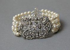 Cristal nupcial Pulseira de Punho, Pulseira de casamento Vintage Pearl, casamento nupcial Pulseira Vintage, Old Hollywood Bridal Jewelry-Style