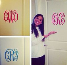 Monogram Wall Decal-Monogram Decal-10 x 12-Removable-Valentines Gift-Girls-Bedroom-Nursery-College-Door-Mirror-30 Colors-FREE SHIPPING    Makes a