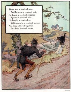 Goose Rhyme, Crooked Man Art Print Mother Goose Rhyme, Crooked Man Premium Poster at Mother Goose Rhyme, Crooked Man Premium Poster at Nursery Rhymes Lyrics, Old Nursery Rhymes, Nursery Book, Vintage Children's Books, Antique Books, Beetlejuice, Nursery Rymes, Pomes, Rhymes Songs