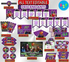 Descendants Birthday Party Kit Birthday by BirthdayPartyStudio