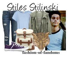 Stiles Stilinski by fofandoms on Polyvore featuring мода, Mads Nørgaard, Paige Denim, Converse, LA: Hearts and Alkemie