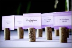 Wine cork card holders for name cards or food labels on a buffet table. I'd better start saving my wine corks.