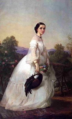 Portrait of Jenny Lind aka Jenny Lind, the Swedish Nightingale // Louis Lang // circa 1852 // Painting - oil on canvas Victorian Women, Victorian Fashion, Vintage Fashion, Victorian Era, Victorian Artwork, Steampunk Fashion, Vintage Beauty, Gothic Fashion, Fashion Fashion