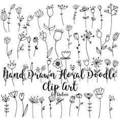 Hand Doodles, Easy Doodles Drawings, Doodle Art Drawing, Flower Doodles, Doodle Flowers, Drawing Ideas, Doodle Borders, Doodle Patterns, Mason Jar Clip Art