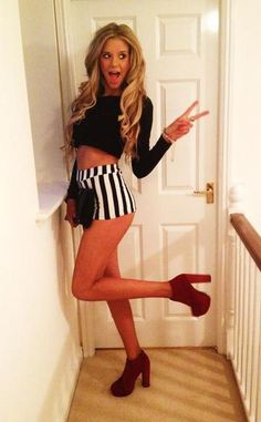 Black long sleeve crop top, Black striped shorts, Red Lita Boots.