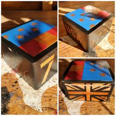 Turned an old cigar box into a trinket box Patriotic style. Lightly sanded it down with 220 grit. I used behr high gloss paint and lacquer for the finish. High Gloss Paint, Pallet Designs, Behr, Trinket Boxes, Cigar, Decorative Boxes, Creative, Painting, Home Decor