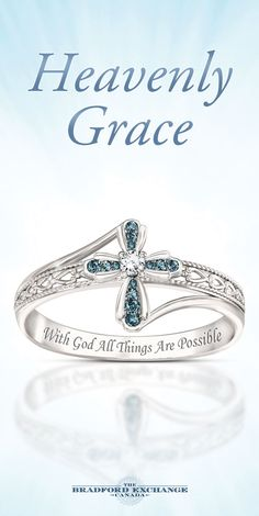 Handcrafted solid sterling ring features 14 blue diamonds in a cross design with a white diamond at the center. Sentiment engraved inside. Gift box.