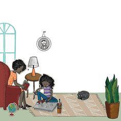 . . .  #illustration #childrensbooks #drawing #illustrator #draw #illustagram #umbrella #livingroom #motherandchild #mother #drawing #cat