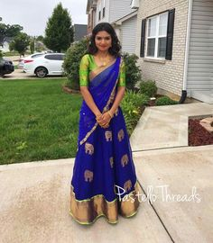 Half saree Lehenga Saree Design, Half Saree Lehenga, Kids Lehenga, Saree Dress, Sari, Half Saree Designs, Saree Blouse Neck Designs, Salwar Designs, Pattu Sarees Wedding
