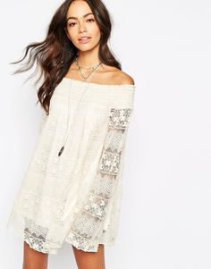 $76.00 -- Band of Gypsies Lace Off-Shoulder Swing Dress in cream // ASOS