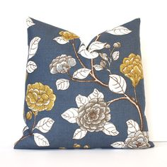 "Slate Blue Floral Decorative Designer Pillow Cover 18"" Accent chinoiserie ivory brown cottage dwell indigo light blue navy peony gold yellow"