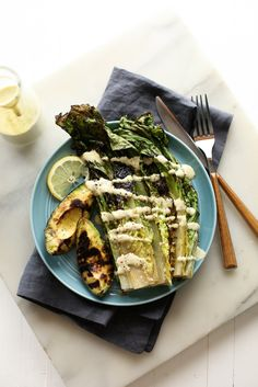 Grilled Avocado and Romaine Caesar Salad - A vegan and gluten-free summer salad!  blissfulbasil.com