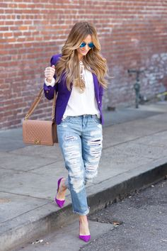 Purple blazer Best Picture For Blazer Outfit noche For Your Taste You are looking for something, and it is going to tell you exactly what you are looking for, and you didn't find that picture. Purple Shirt Outfits, Orange Blazer Outfits, Blazer Outfits For Women, Short Outfits, Fall Outfits, Casual Outfits, Cute Outfits, Cardigan Outfits, Balmain Blazer Outfits