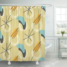 Retro Shower Curtain, Vintage Style, Vintage Fashion, Bathroom Shower Curtains, Kitchen Organization, Mid-century Modern, 1960s, Mid Century, Flooring