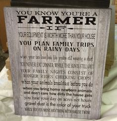 You Know You're A Farmer Wood Sign - Christmas Gift, FFA, Farming, Father's Day, Farm Family, Mother's Day - Custom Photo by HeartlandSigns on Etsy