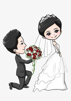 Pin by Khokh on Kawaii in 2019 Wedding Couple Cartoon, Love Cartoon Couple, Cute Love Cartoons, Cute Cartoon, Wedding Couples, Cute Couples, Chibi, Wedding Caricature, Wedding Thank You Postcards