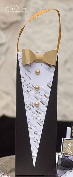 Wow!  What an elegant Tuxedo Gift Bag!  I love the color of the bow tie!  Looks expensive, Corri!  From the NEW YEAR'S EVE SVG KIT!
