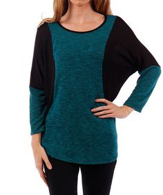 Another great find on #zulily! Jade & Black Contrast Dolman Top by Liz in LA #zulilyfinds