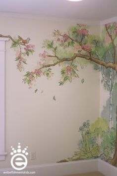Embellishments Kids: Out of the woods - a nursery mural for woodland friends and baby McClure Tree Mural Kids, Kids Room Murals, Murals For Kids, Tree Murals, Nursery Murals, Mural Painting, Mural Art, Wall Murals, Garden Mural
