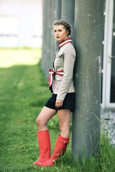 """Jacke Leinen """"Safari"""" - Mirabell Plummer Safari, Hunter Boots, Rubber Rain Boots, Shoes, Fashion, Mandarin Collar, Linen Fabric, Scale Model, Red"""