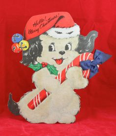 Super Cute Vintage Puppy Dog Standee Christmas Card