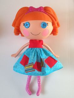 Handmade Lalaloopsy Clothes Turquoise and Red Dress by All4U
