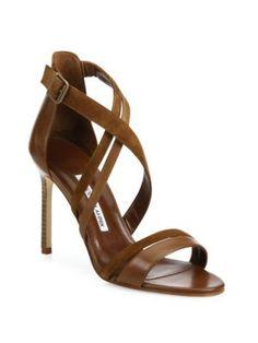 MANOLO BLAHNIK Liline Leather & Suede Strappy Sandals. #manoloblahnik #shoes #sandals