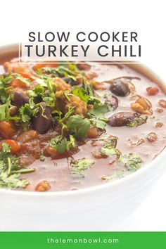 Made with lean turkey, hearty beans and smoky fire-roasted chilis, each bite sticks to your ribs – not your waistline. This hearty and satisfying Slow Cooker Healthy Turkey Chili recipe has great flavor, easy to make and ideal for feeding a crowd! Slow Cooker Turkey, Crock Pot Slow Cooker, Healthy Slow Cooker, Slow Cooker Recipes, Chili Recipes, Crockpot Recipes, Soup Recipes, Recipies, Easy Healthy Dinners