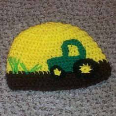 crochet tractor beanie. Photo by Mottley Creations.