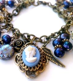 Handmade Victorian Modern Steampunk Cameo and Pearls Bracelet Free Ship USA