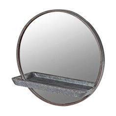 Galvanised Round Metal Wall Mirror with Shelf Cheap Wall Mirrors, Wall Mirror With Shelf, Unique Home Accessories, Metal Walls, Sconces, Indoor, Entrance, Living Room, Home Decor