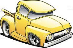 Yellow cartoon classic truck created in Adobe Illustrator. Pickup Trucks, Old Trucks, Chevy Trucks, Classic Trucks, Classic Cars, Cartoon Car Drawing, Cars Cartoon, Carros Retro, Cool Car Drawings