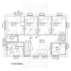 Här har vi övervåningen och här har vi gjort mest ändringar. Sambons krav var eget badrum till oss, så det fick det bli. Sen varsitt rum till våra tre barn och ett badrum till dem. Sambon är egen företagare och behöver därför ett arbetsrum. Vi har även valt att sätta in en skjutdörr mellan trappan och allrummet. #myresjöhus #smart168 #planritning #planlösning #byggahus #bygganytt #levelone #nybygge #husbygge #husinspiration
