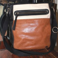 The Sak Brown Cream Black Leather Cross Body Handbag Womens Purse #TheSak #CrossBodyShoulderBag
