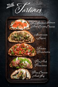A fun twist on appetizers that will suit everyone's taste. A tartine bar is the perfect party shortcut. Tartine(s) = Jazzy Things on toast! And Tartine Bar = Party on A Monday! Because who doesn't need some jazzy stuff in Use vegan options. This Tartine Good Food, Yummy Food, Delicious Snacks, Cooking Recipes, Healthy Recipes, Diet Recipes, Tapas Recipes, Cooking Bacon, Recipes Dinner