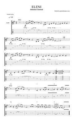 Johannes Linstead - Eleni acoustic guitar TAB in Guitar Pro Romantic spanish guitar solo guitar lines in Standard tuning Sounds cool? Spanish Guitar Scales, Spanish Guitar Music, Classical Guitar, Spanish Music, Music Theory Guitar, Guitar Sheet Music, Guitar Solo, Dj Music, Guitar Picks
