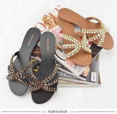 Sandálias Rasteiras Pedrarias #sandália #flats #rasteiras #pedraria #calçados #looknowlook