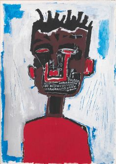 Painting by Jean-Michel Basquiat, 1984,  Self Portrait, Acrylic and oilstick on paper mounted on canvas © The Estate of Jean-Michel Basquiat