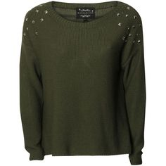 BLONDE & BLONDE Stud Shoulder Jumper ($22) ❤ liked on Polyvore featuring tops, sweaters, shirts, jumpers, khaki, shirt sweater, studded sweater, khaki jumper, studded top and khaki shirt