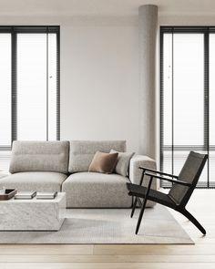 living room Minimalist Sofa, Minimalist Interior, Living Room Grey, Interior Design Living Room, Minimalist Living Room Furniture, Sofa Design, Furniture Design, Contemporary Home Decor, Home Room Design