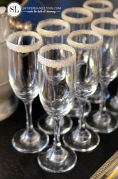 Sugar Rim Champagne Glasses